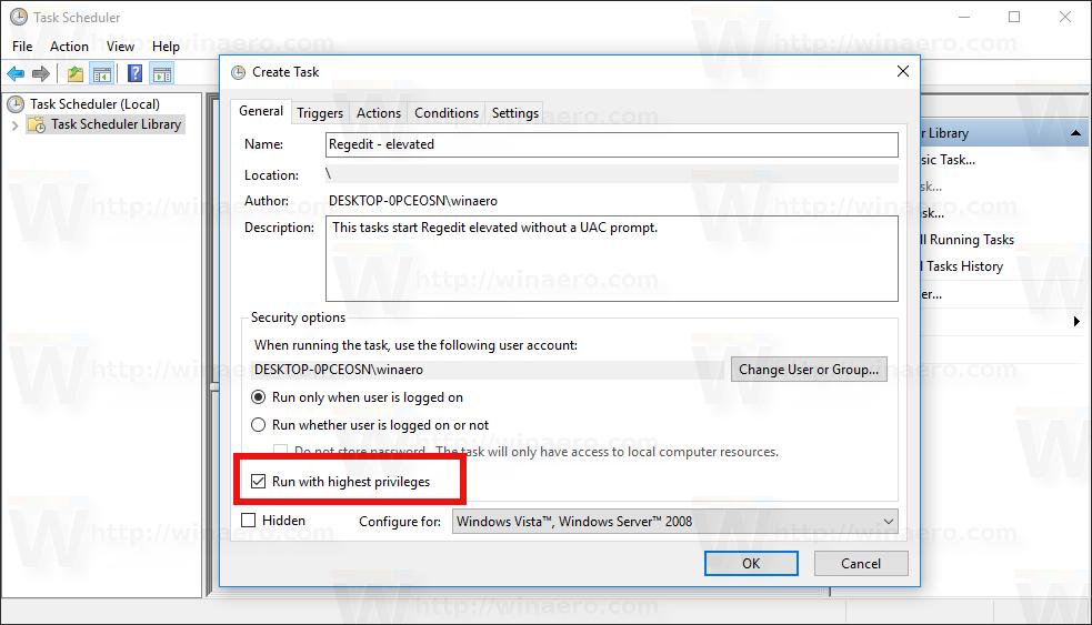 Create elevated shortcut to skip UAC prompt in Windows 10