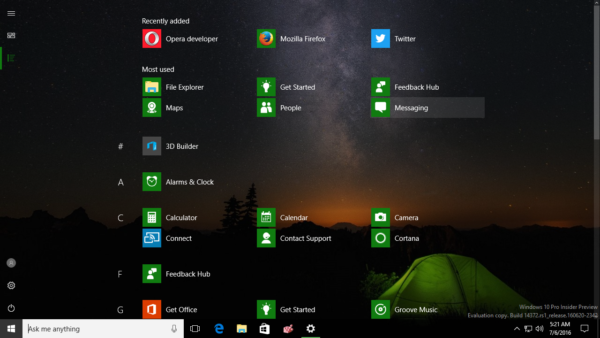 Windows 10 Full screen start menu 2