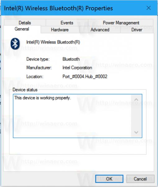 Windows 10 bluetooth properties