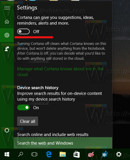 Windows 10 build 10586 disable cortana