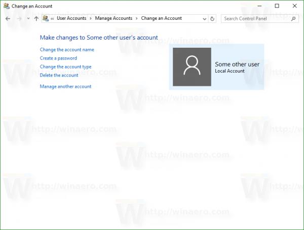 Windows 10 change account page