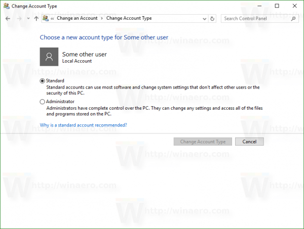 Windows 10 change account page in CP
