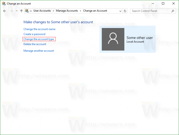 Windows 10 change account page the link