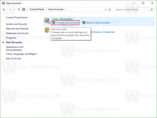 Windows 10 change account type link