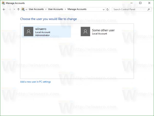 Windows 10 change account type window