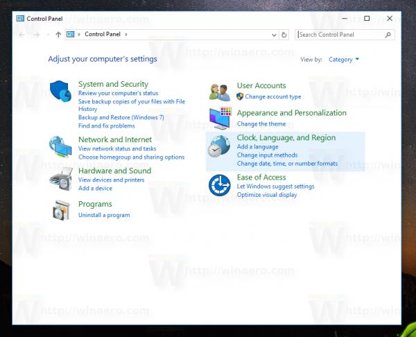 Windows 10 control panel opened