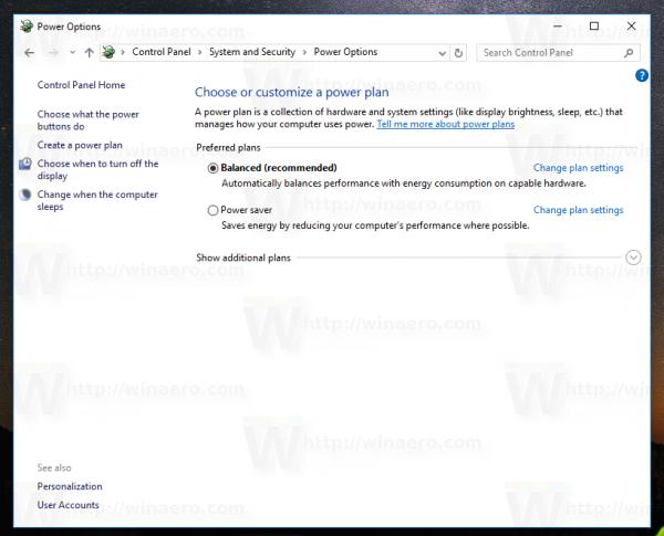 Windows 10 control panel power options