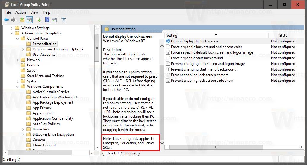 Windows 10 disable lock screen