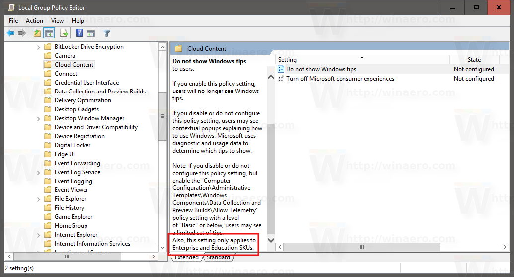 Microsoft locks some Group Policy options to Enterprise editions in