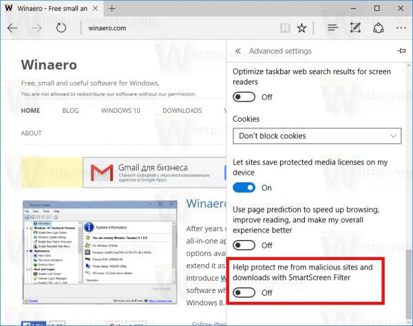 Windows 10 edge disable smartscreen