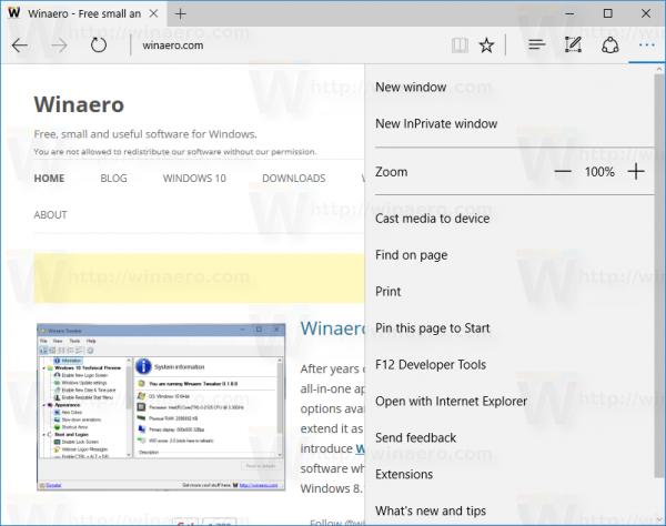 Windows 10 edge open menu