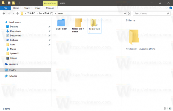 Windows 10 icons folder