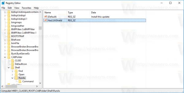 Windows 10 install cab runas HasLUAShield