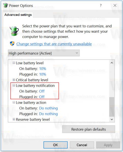 Windows 10 low battery notification