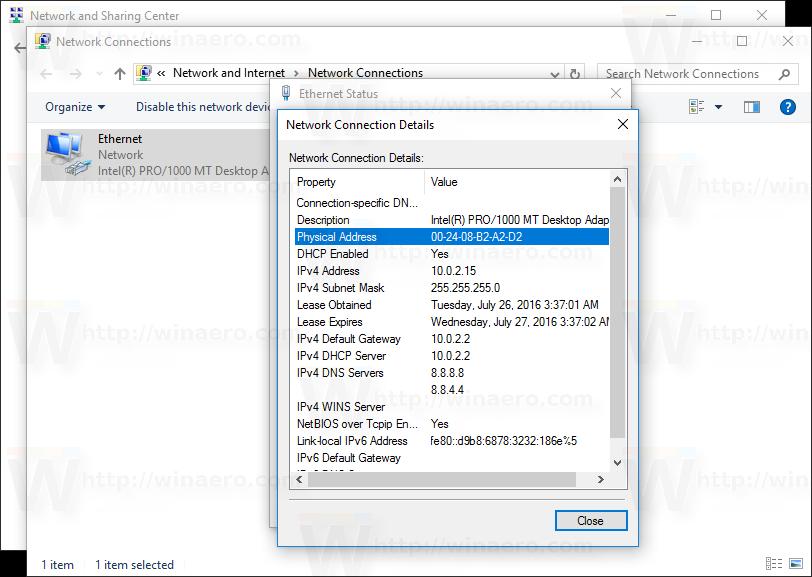 Change network card MAC address in Windows 10