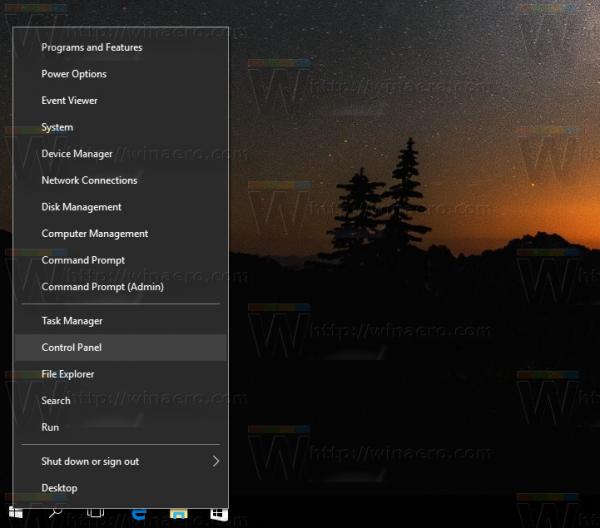 Windows 10 open control panel