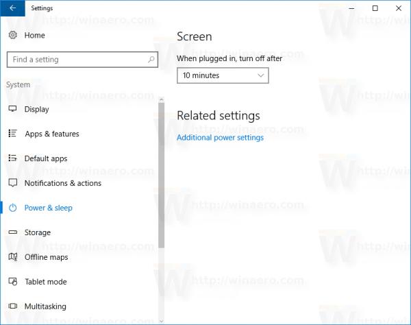 Windows 10 power and sleep