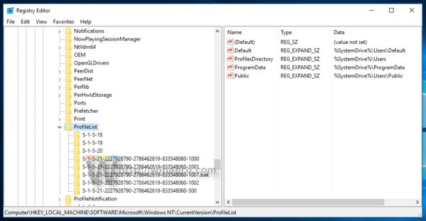 Windows 10 profilelist