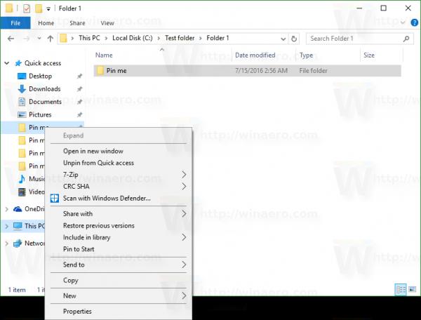 Windows 10 quick access no rename command