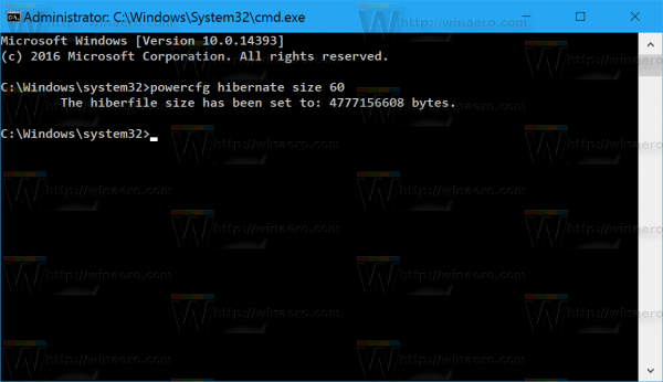 Windows 10 reduce hibernation file size