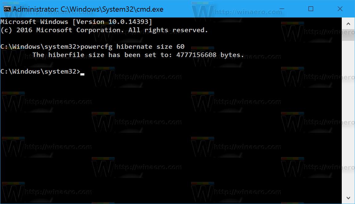 Reduce hibernation file (hiberfil.sys) size in Windows 10