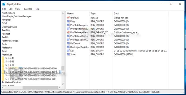 Windows 10 rename subkey remove bak