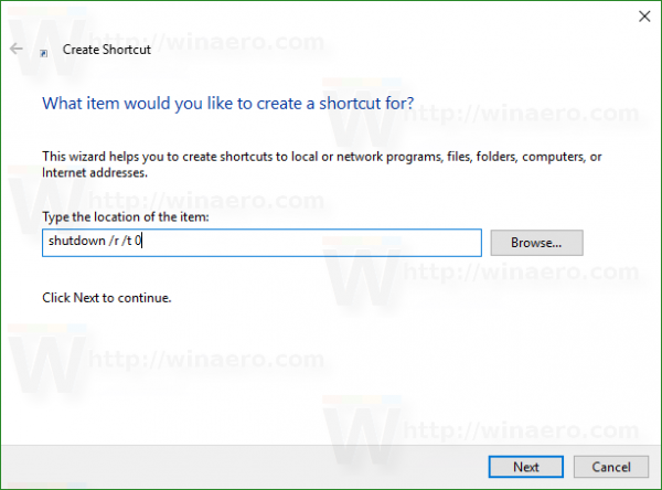 Windows 10 restart shortcut