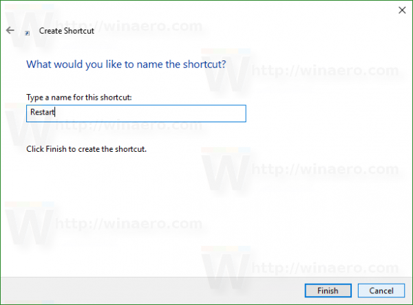 Windows 10 restart shortcut name