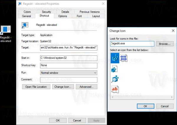 Windows 10 schtasks shortcut icon