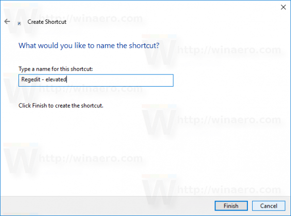 Windows 10 schtasks shortcut name