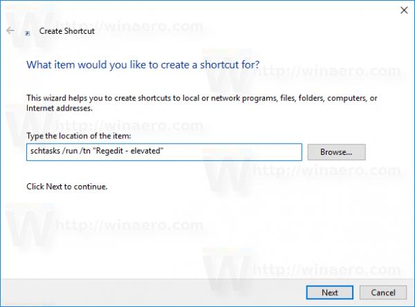 Windows 10 schtasks shortcut target