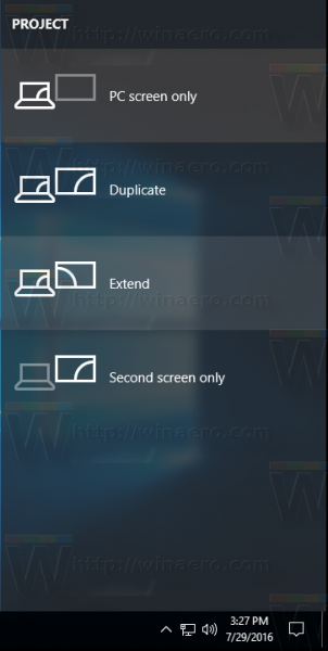 Windows 10 select project mode