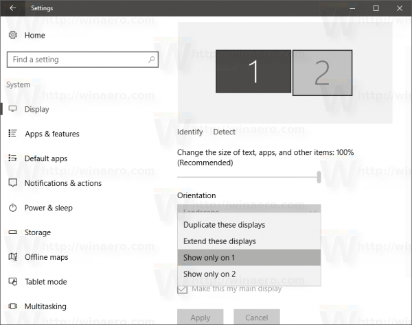Windows 10 settings system display configure mode