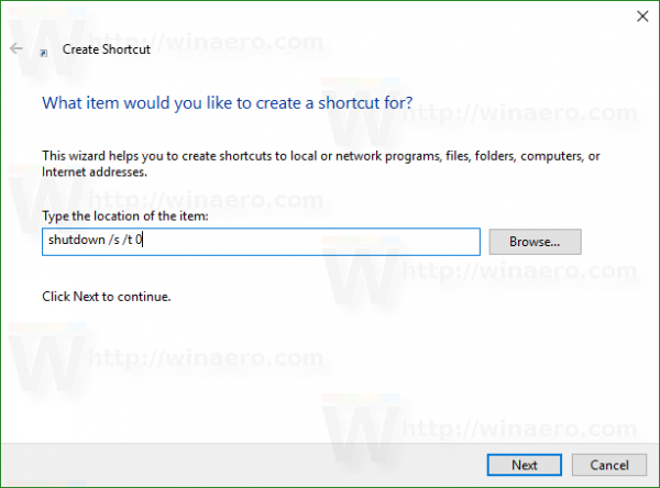 Windows 10 shutdown shortcut