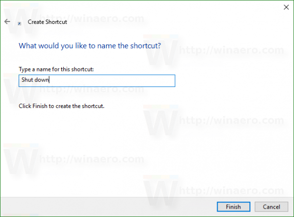 Windows 10 shutdown shortcut name