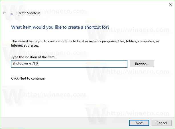 create a shortcut in windows 10 cmd