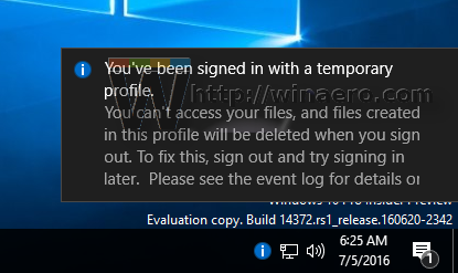 Windows 10 - You've been signed in with a temporary profile