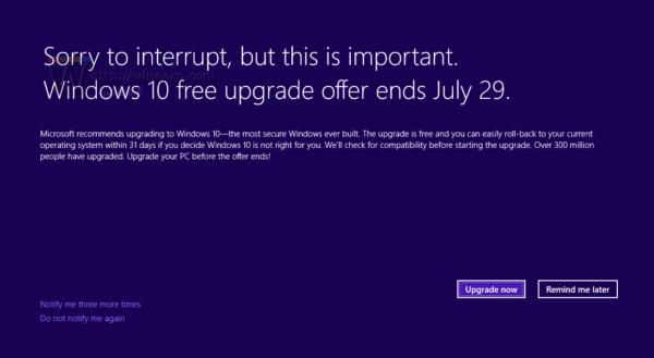 Windows 10 upgrade offer full screen
