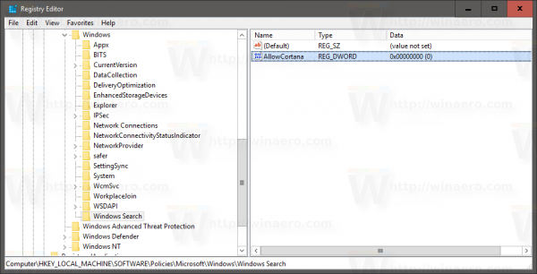 Windows 10 version 1607 disable cortana