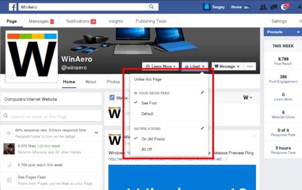 facebook liked page menu