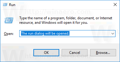 run dialog select text