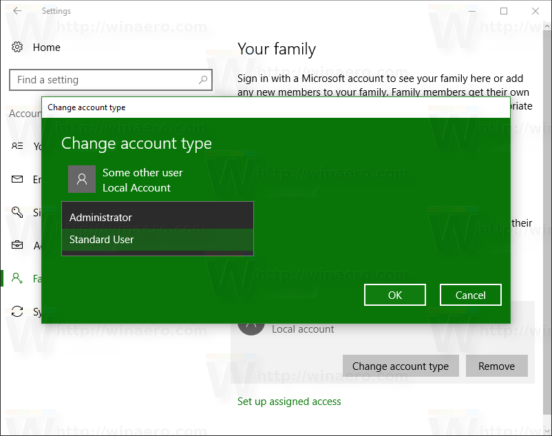 change admin on windows 10