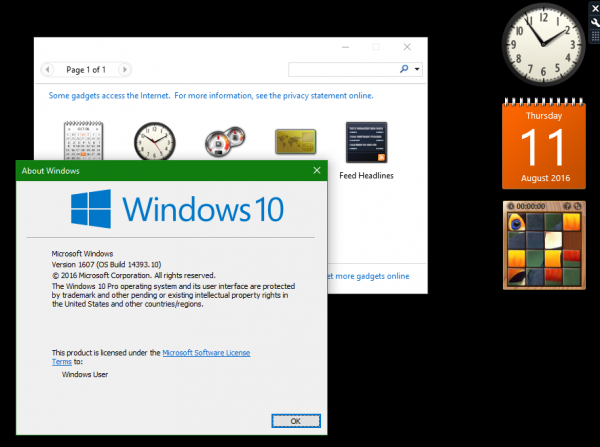 Sidabar Gadgets in Windows 10 Anniversary Update
