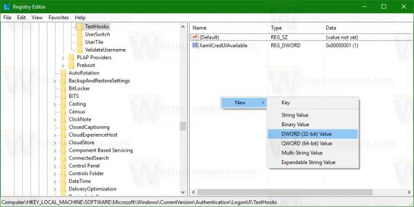 TestHooks new 32-bit dword