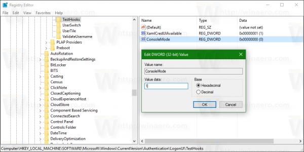 TestHooks set ConsoleMode to 1
