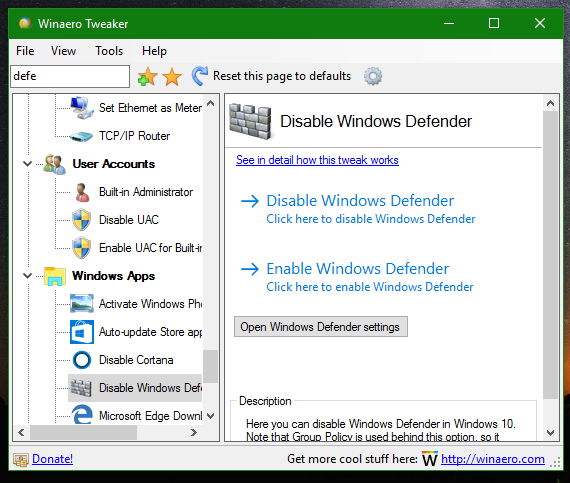 Disable or enable Windows Defender in Windows 10