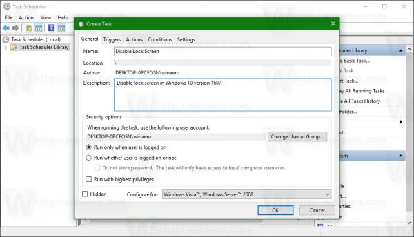 Windows 10 Disable Lock screen task 1