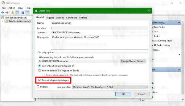 Windows 10 Disable Lock screen task eleavted