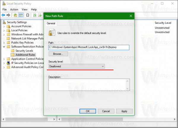 Windows 10 Software Restriction Policies path rule disable lock screen