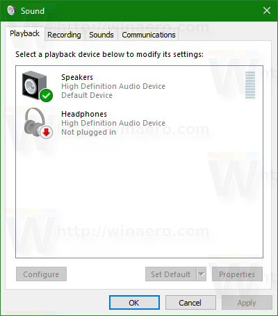 Windows 10 Sound dialog